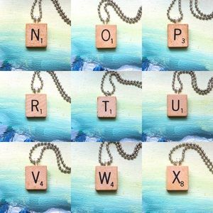 """Frost & Fire Jewelry - 1953 """"W"""" Scrabble® Tile Initial Pendant Necklace"""